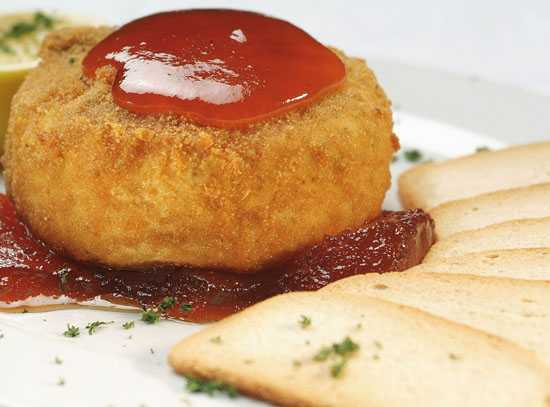 Crumbed Fried Camembert with cranberry at the Hussar Grill