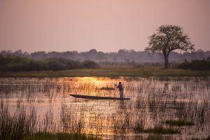 Mokoro ride Vumbura Plains Okavango Delta Botswana