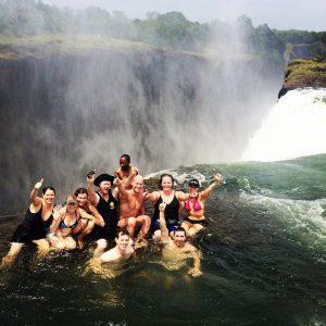 Rhinos in Devils Pool, Victoria Falls