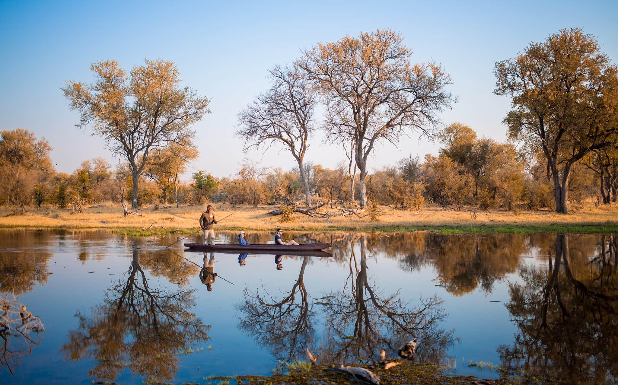 Safari on a mokoro boat on the Okavango Delta in Botswana