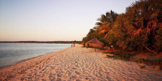 Traumhafter Strand in Mosambik bei Sonnenuntergang
