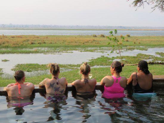 Peggy et ses collègues à la piscine au parc national de Mana Pools