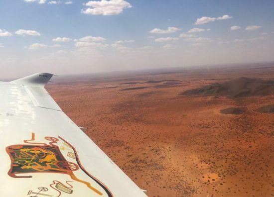 Vue du ciel avant notre atterrissage à Tswalu
